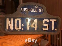 1910s BUSHKILL & NO. 14 Street Humpback Porcelain Pennsylvania Corner Street Sign