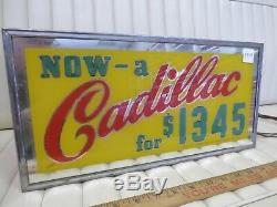 1941 CADILLAC Glass Lighted Dealer Sign Electric Freestanding Box Display