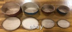 4 Collectable Shaker Workshops Nested Oval Wood Boxes Red And Blue
