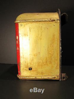Antique American City Urban Bus Fare Red Gold Orginal Paint Box Bell Chicago Wow