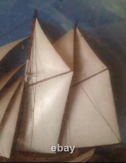 Antique Diorama Maritime Sailing Ship Sailboat Shadow Box Folk art Handmade 1880