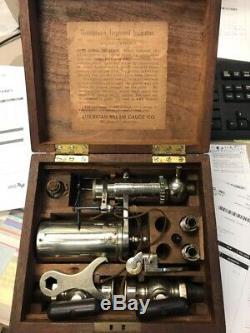 Antique JW Thompson American Steam Gauge Co Steam Engine Indicator in Wood Box