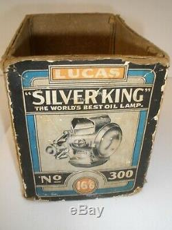 Antique LUCAS SILVER KING No300 Bike Lamp Boxed with Instructions Rare Find