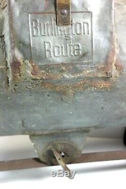 BURLINGTON ROUTE Railroad Hot Box Journal Cook Cooler Pat'd 1912 (RARE)