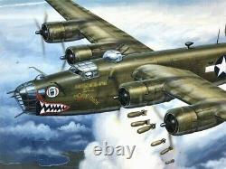 B-24d Liberator Original Monogram Models Box Top Studio Fine Art Painting 1976