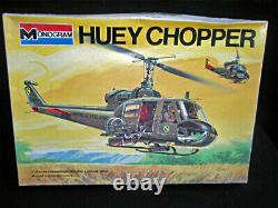 Bell Huey Chopper Uh-1b Original Model Box Top Art Studio Painting Awesome