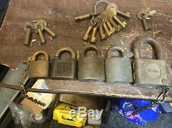 Box of Vintage AT&SF RY Atchison Santa Fe Railway ADLAKE 57 locks and 20 kees