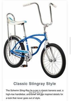 CLASSIC Schwinn Blue StingRay 2020 Model BIKE Banana Seat NEW in BOX Sting-Ray