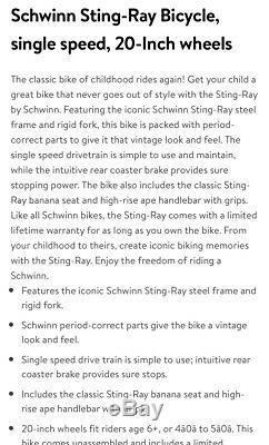 CLASSIC Schwinn COPPERTONE StingRay Vtg Retro MUSCLE BIKE Banana Seat NEW in BOX