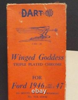 Car Mascot Winged Goddess 1946 Ford Car Unused Chrome Lucite Boxed