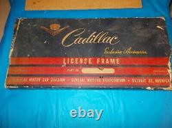 Circa 1950's CADILLAC EXCLUSIVE ACCESSORIES N. O. S. GOLD LICENSE FRAME IN BOX