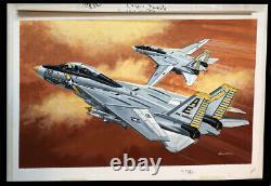 F-14a Tomcat Original Monogram Models Box Top Studio Fine Art Painting 1985
