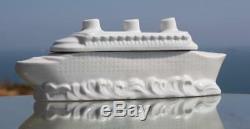 French Line Cgt Ss Normandie Art Deco Ceramic Souvenir Trinket Box 1930's