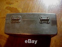 GILLETTE BULLDOG Silver ANTIQUE SAFETY RAZOR FAT HANDLE in Bostonian Box