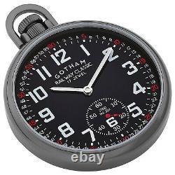 Gotham Men's Gun-Plated Stainless Steel Mechanical Railroad Pocket Watch