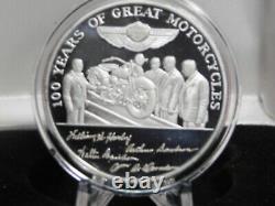 HARLEY-DAVIDSON 100th ANNIVERSARY 1OZ. 999 SILVER COIN RARE MINT IN BOX/COA