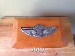 HARLEY DAVIDSON 100th ANNIVERSARY WOODEN JEWELRY BOX FELT LINED WITH BRACELET