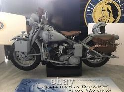 HTF 110 Franklin Mint 1944 Harley Davidson U Navy Military Motorcycle Boxed