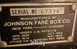Johnson Fare Box, Bus Trolley Street Car Coin/Ticket Machine, Americana, 1914