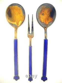KLAVENESS LINE David-ANDERSEN Sterling Enamel SetBoxed Norway Silver Fork Spoon