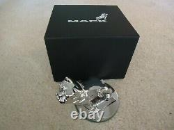 Mack Truck Chrome Bulldog Hood Ornament Paperweight Round Base Collector Box