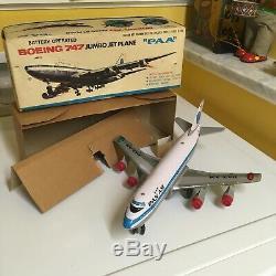 NOMURA VINTAGE TIN & PLASTIC B/O PAA BOEING 747 JUMBO JET PLANE WORKING WithBOX