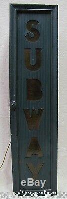 Old Original SUBWAY Sign back lite metal front w custom lighted wooden box frame