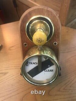 Original Railway Signal Box Track Brass Indicator Dial On Oak Mount