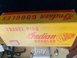 RARE Indian Motorcycle Aviation Goggles Green & Chrome Original Box''Rocket'