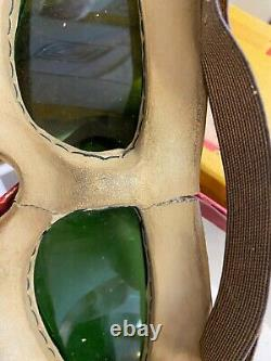 RARE Indian Motorcycle Aviation Goggles Green & Chrome and box''Rocket'