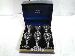 Rare Vintage Cunard Steam ship Co Stuart Crystal Glasses Presentation Boxed Set