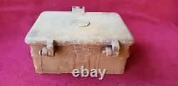 Rare-old-Railroad Cast Iron Tool Box withR. A. Railroad Tie Logo Lid, Short Line, PRR