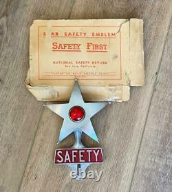 Safety Star Original Vintage Authentic License Plate Frame Topper with Box