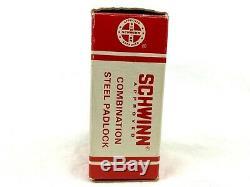 VINTAGE SCHWINN BICYCLE LOCK Combination Padlock with Original Box & Tag NOS