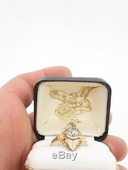 Vintage 10k Gold Harley-Davidson Black Hills Gold Ring Size 8 With Box