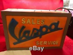 Vintage 1960's Advertising Light Box Vespa Sales Perspex & Metal 47x31x13 Fab