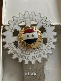 Vintage Enamel Automobile Club Degypte Egypt Car Badge With Original Box