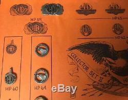 Vintage Harley-Davidson 1980s Vendor Sample Pin Set, Homemade Box Very Rare