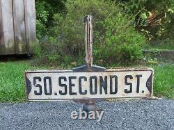 Vintage Metal Street Corner Intersection Sign Frame Page St. So. Second St