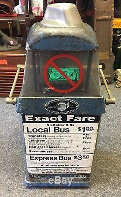 Vintage NYC FARE BOX TRANSIT BUS TOKEN Johnson Model K25M Coin Op Display Rare