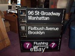 Vintage Nyc Subway Sign Nycta Side Roll Sign & Box Original Knobs Cover Rare Ny