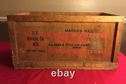 Vintage U. S. GAUGE CO NY Pressure Gauges Automotive Compass Wood Shipping Crate
